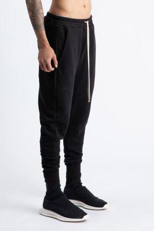 Pantalon Bastonetto fabricat manual din bumbac de culoare neagra