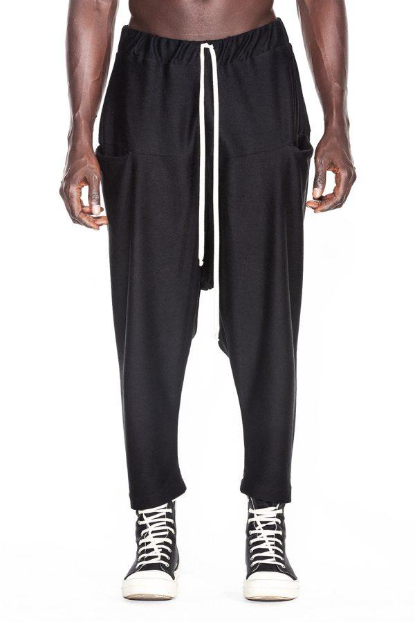 Pantalon Inversat pentru barbati fabricat manual si de culoare neagra
