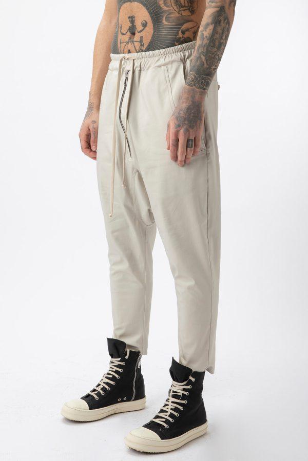 Pantalon Zip fabricat manual din bumbac subtire si cu fermoar