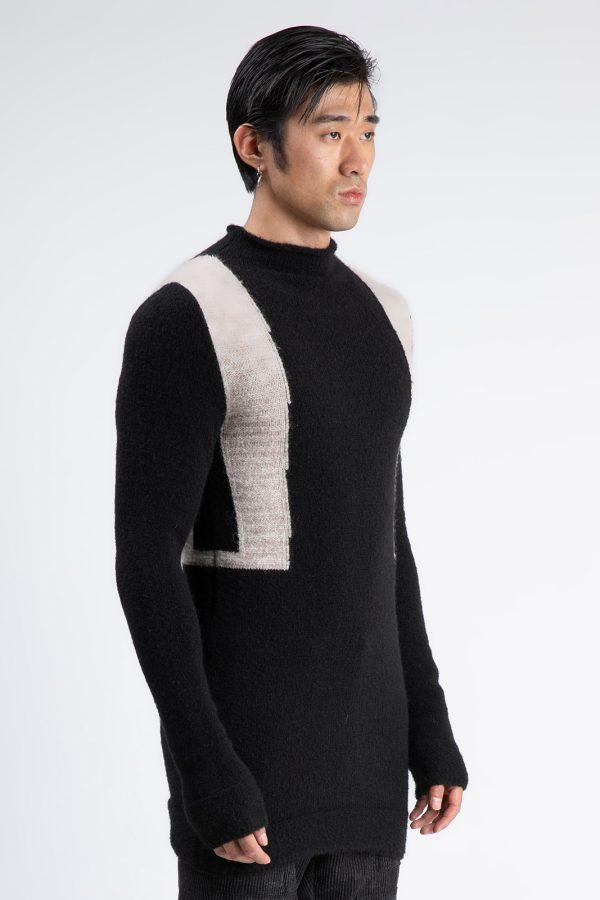 Pulover Mozaic fabricat manual din lana cu model bicolor