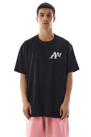 Tricou AM fabricat manual din bumbac, disponibil in culorile alb si negru