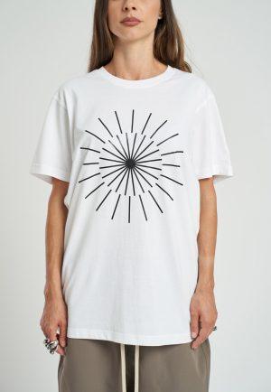 Tricou Logo Feminin fabricat manual din bumbac alb