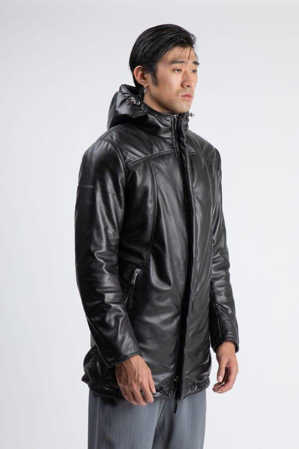 jacheta lunga din piele si cu gluga