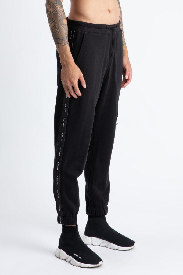 pantalon lung de culoare neagra cu logo